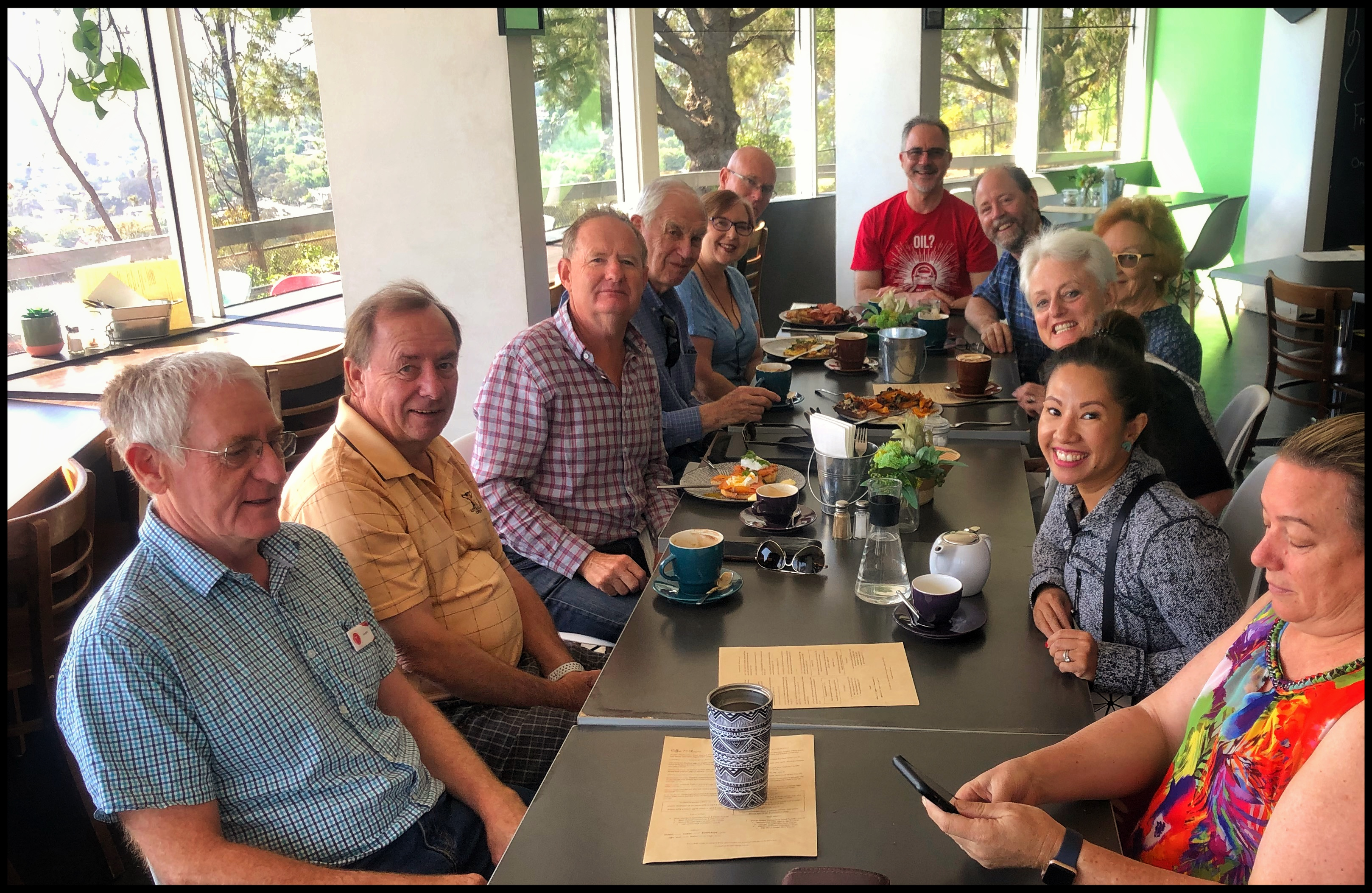 A nice midweek breakfast of Canberra TOCA members At the Red Hill cafe and lookout.