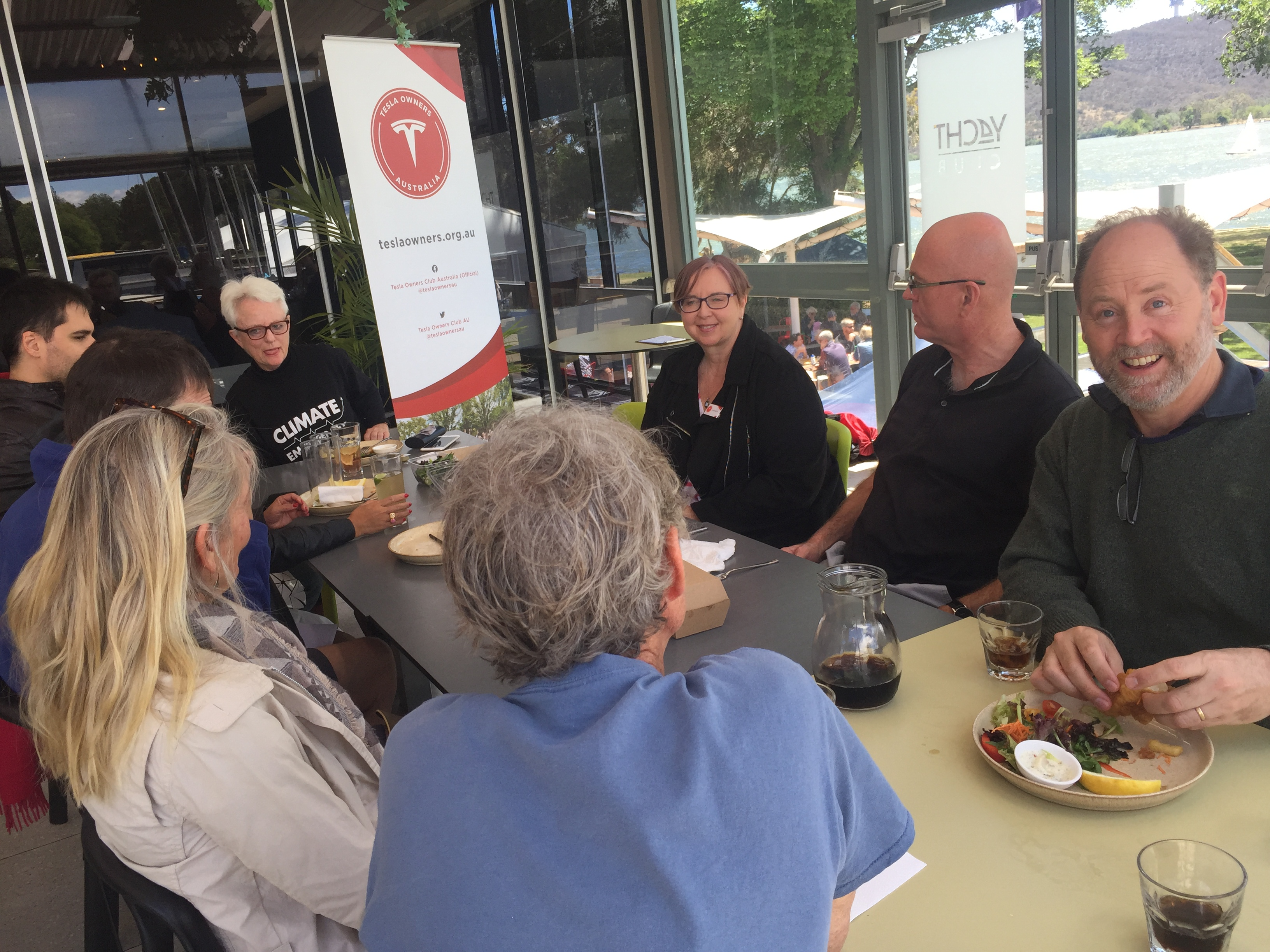 An enjoyable lunch and camaraderie at the Canberra Yacht Club by 10+ members.